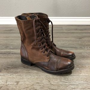 Steve Madden Mid calf lace up combat boot